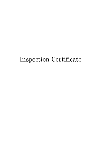 Inspection Certifcate